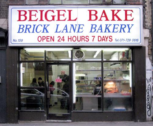 Brick Lane Market. Beigel shop