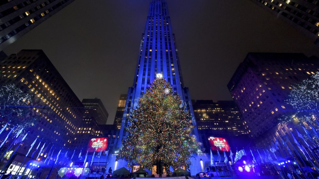 IMAGE DISTRIBUTED FOR TISHMAN SPEYER - The Rockefeller Center Christmas Tree stands lit, Wednesday, Nov. 30, 2016, in New York. The 94-foot tall Norway spruce is covered with more than 50,000 multi-colored LED lights. (Photo by Diane Bondareff/Invision for Tishman Speyer/AP Images)