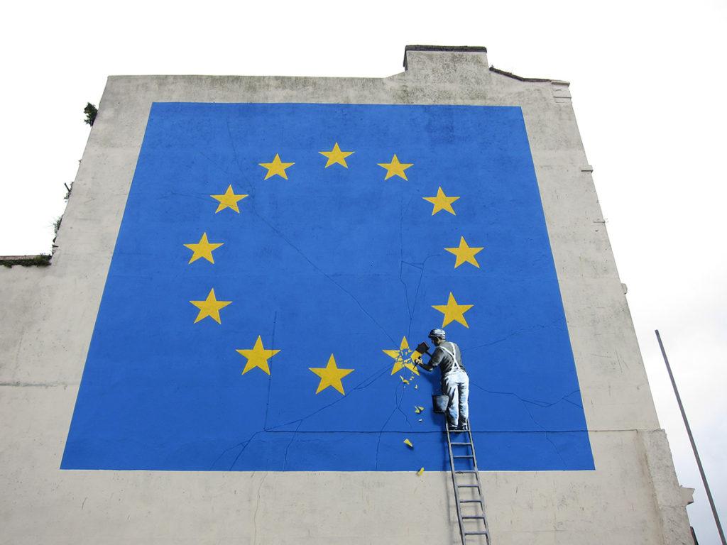 Banksy's EU flag mural in Dover