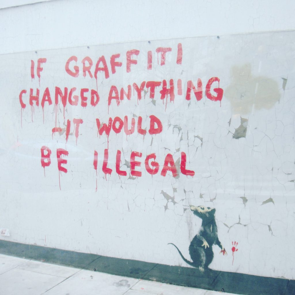 One of the latest Banksy's in London (2011). It is located by the garage at the BT Tower end of Clipstone Street in Fitzrovia, central London