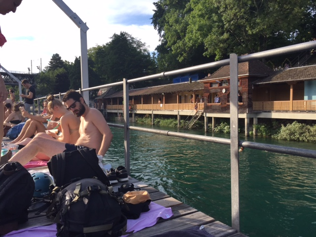 Public swimming bath in Zurich: view from the other side