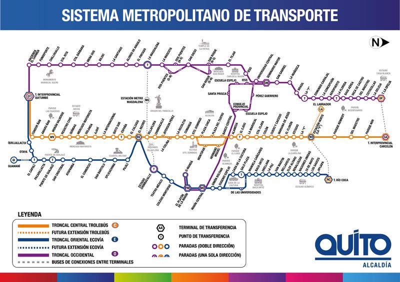 Quito's transport map