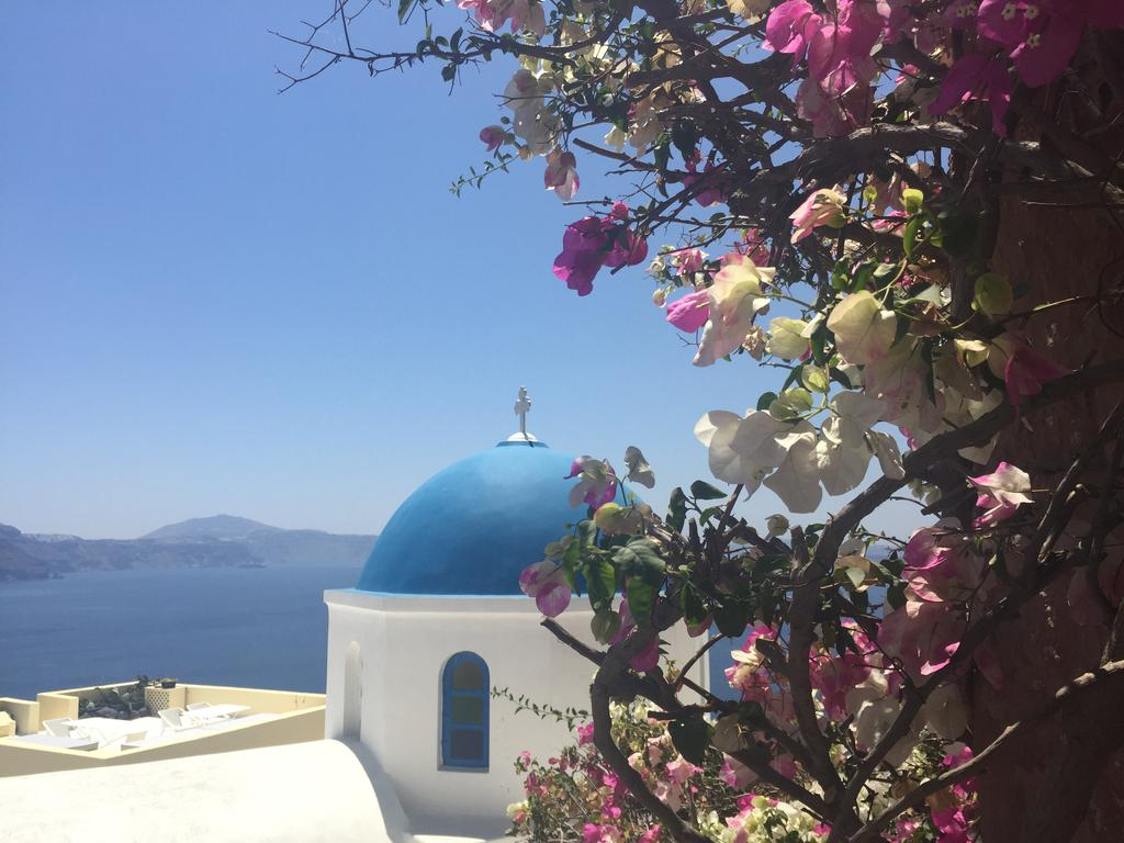 Oia's iconic blue domed church