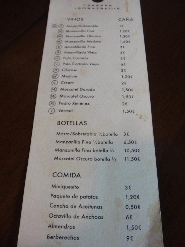 Taberna La Manzanilla menu